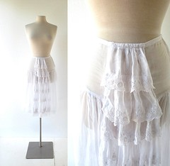 1920s embroidered ruffle front petticoat/slip (Small Earth Vintage) Tags: 1920s white ruffles lace slip embroidered petticoat 20s vintageclothing vintagefashion smallearthvintage