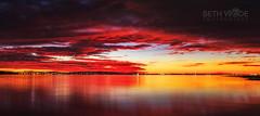 Red Sky at Night (Beth Wode Photography) Tags: sunset reflections sundown beth wintersolstice redsky lowtide redlands redsunset moretonbay wellingtonpoint wode bethwode