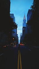 Blue Steel (lozadae12) Tags: street nyc newyorkcity sky ny newyork skyscraper manhattan landmark artdeco bluehour chryslerbuilding 42ndstreet vsco