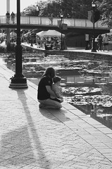 June Evening (Anna Sikorskiy) Tags: life street bridge sunset summer people urban blackandwhite bw woman usa abstract love water reflections canal kid mood cityscape shadows waterfront sweet streetphotography lifestyle leisure feeling northeast