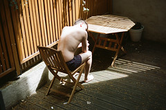 Garden Eden (Christoph Hofbauer) Tags: canon av1 kodak portra 160 analog film 35mm garden solitude sun beam light boy man naked skin back