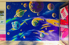 Space, The Final Free Wifi Zone (Steve Taylor (Photography)) Tags: pink blue newzealand white streetart green art yellow stars graffiti mural purple space free wifi nz planet mauve southisland universe comet zone solarsystem asteroid telecom thefinalfrontier