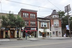 Queen St. East, Toronto - 2014 (Howard258) Tags: queenstreet torontoontario queenstreeteast streetview toronto buildings thebeaches thebeach 2014