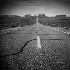 And Just Like That, My Runnin' Days Was Over (LowerDarnley) Tags: holga utah monumentvalley highway route163 road mesa buttes southwest forrestgump running