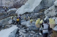 Hauling sulphur out of the crater (JohnMawer) Tags: indonesia volcano java jawatimur ijen sempol