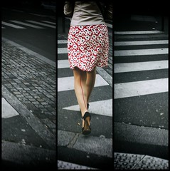 Red Line (Calinore) Tags: red woman paris france rouge legs femme skirt jupe ville jambes chaussures