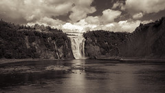 Orage en preparation -3- (CTfoto2013) Tags: summer lake canada monochrome sepia clouds forest vintage river landscape lumix waterfall mood cloudy quebec outdoor riviere lac stormy falls retro panasonic brook nuages paysage cascade foret torrent ete ambiance chutedeau nuageux atmoshphere sapins montmorencyfalls chutemontmorency orageux fz150
