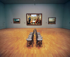 The Banquet of Cleopatra & Chairs (@fotodudenz) Tags: mamiya7 film rangefinder super wide angle 43mm melbourne victoria australia 2016 ngv national gallery painting the banquet cleopatra giovanni battista tiepolo art wood floor