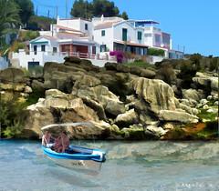 Island In The Sun... (rubyblossom.) Tags: blue sea sun holiday water island 1 boat spain rocks clear sail challenge menorca mii vill 2016 rubyblossom rusbystreasures