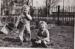 Diana and Robin 1953 (Bury Gardener) Tags: girls boy blackandwhite bw girl robin diana 1950s oldies 1953