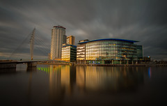 Media City (Dave Holder) Tags: longexposure bridge sunset urban water architecture clouds canon landscape manchester salfordquays le bbc waterblur itv canonefs1022mm leefilters mediacitysalford canon70d leebigstopper