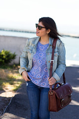Printed tank, denim jacket, jeans, lace up flats, ona camera bag-1.jpg (LyddieGal) Tags: california ona sanfrancisco blue camerabag denim fashion gap gorjana jojo laceupflats outfit rayban spring style tjmaxx travel vacation wardrobe weekendstyle