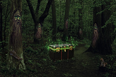 21/52 - Artistic: Fantasy (Guardians of the Forest) (Ben Aerssen) Tags: trees red brown green composite mystery forest grey log weeds squirrels shadows path magic chest gray ground brush foliage fantasy bark shade stump mysterious magical guardians dogwood52 dogwoodweek21