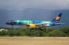 Icelandair (Aurora Borealis Livery). TF-FIU. Boeing 757-256. FI564. (Themarcogoon49) Tags: switzerland airport aircraft landing aurora boeing planespotting b757 gva cointrin avgeek