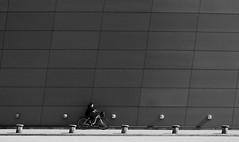 Bicycle race (mkorolkov) Tags: street city urban blackandwhite monochrome bicycle architecture pattern geometry streetphotography fujifilm xe1 xc50230