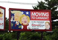Trump and Clinton Moving to Canada Real Estate Billboard McDonald Group (benchilada) Tags: canada real moving estate clinton group billboard champaign donaldtrump trump hillaryclinton mcdonald movingtocanada