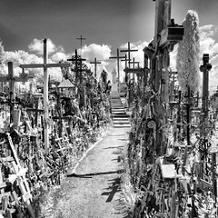 P1040159_fhdr (Bill Abrams) Tags: blackandwhite bw stpetersburg ir infrared lithuania balticstates hillofcrosses odysseysunlimited