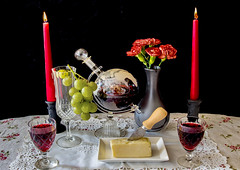 Romantic Tipple (Spence.. Going slowly with a back injury) Tags: flowers stilllife glass cheese port canon table glasses stem focus candles colours dish wine background flash knife plate indoors flame grapes vase cloth decanter candleholders spence carnations studioflash canon6d angspence canon24105l