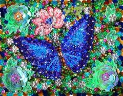Blue butterfly beadwork, bead embroidery art (Sofia Metal Queen) Tags: beauty butterfly beadwork beadembroidery beaded embroidery embroidered art artwork creative sequined sequin flower handwork handmade handcrafted handcraft fineart              rhinestone