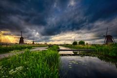 Windmills in Kinderdijk (radonracer) Tags: sky holland water netherlands windmill amsterdam hdr kinderdijk niederlande niederland