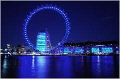London Eye (jarrowka ( )) Tags: greatbritain blue england sky london water night londoneye woda noc anglia londyn niebo wielkabrytania jarrowka