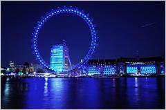 London Eye (jarrowka ( )) Tags: greatbritain blue england sky london water night londoneye woda noc anglia londyn niebo wielkabrytania jarrowka favescontesttopseed favescontestfavored