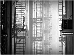 Ladders in Light (Carl's Captures) Tags: urban bw chicago abstract monochrome oneaday backlight illinois alley cityscape shadows chitown curtains theloop flickrcentral ladders downtownchicago cookcounty wbez fireescapes chicagoland shutterbug reedit flickritis illinoisflickrjournal thewindycity flickrtoday cityofchicago theworldthroughmyeyes beautifulcapture enjoyillinois yourbestphotography theillinoisdirectory picasa3 chicagoistphotos sonycybershotdschx1