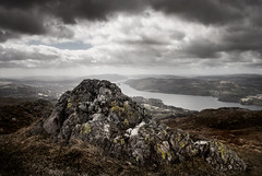 Lake Windermere From Wansfell #2 - #Explored (asheers) Tags: sky mountain lake monochrome rock clouds landscape mono view cloudy lakedistrict lakewindermere wansfell silverefex