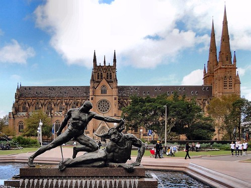Fountain and Church. Theseus and the Minotaur, Archibald Memorial Fountain, and St Mary