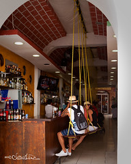 San Miguel de Cozumel Mexico - Swinging Bar (by claudine) Tags: bar mexico restaurant swings swinging cozumel sanmigueldecozumel photographerphoto flickrchallengegroup houstonphotographybyclaudinecom retoucherwest houstonphotographybyclaud