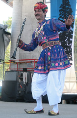 Clarinet Dance (peterkelly) Tags: digital guelph ontario canada northamerica jaipurkawabrassband guelphlakeconservationarea hillside hillsidefestival 2013 clarinet clarinetist dancing indian india traditional costume player performer performance music musician concert band