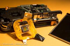 S210 Nikon (40/365) (TWentworth) Tags: nikon parts sony sigma destroyed sensor nikoncoolpix cameraparts project365 365project digitalsensor sigma70mmmacro s210 sonya99 slta99v sonyflash58am