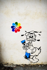 Donald Duck (Ckom) Tags: street art colors graffiti duck couleurs tag disney donald peinture mur arles arne cercle chromatique