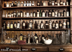 Old Time Apothicary (scottnj) Tags: bottles pharmacy medicine shelves doctorsoffice apothicary scottnj holcombejimisonfarmsteadmuseum