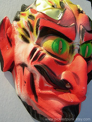 Vintage Halloween Devil Mask (pickledpunk) Tags: halloween monster vintage weird mask vampire ghost retro plastic fantasy ugly horror devil muertos etsy creep sideshow lowbrow ghoul