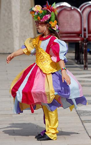 Maypole dancer
