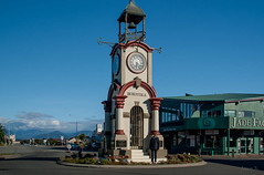 Possing For Me! (Jocey K) Tags: houses newzealand people plants clock bells buildings design clocktower southisland westcoast township hokitika