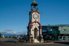 Possing For Me! (Jocey K) Tags: houses newzealand people plants clock bells buildings design clocktower southisland westcoast township hokitika