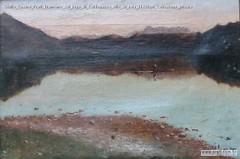 Giulio Cesare Prati Tramonto sul lago di Caldonazzo olio su tela 24x34cm Collezione privata