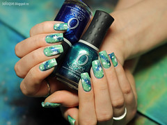Galaxy Nails (So Laque!) Tags: blue decorations green hands hologram polish rings nails galaxy nailpolish cosmic orly elcorazon nailart morgantaylor laquer holographic naildesign manucure chinaglaze galaxynails