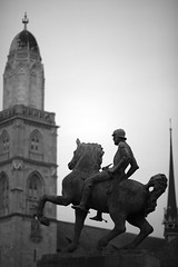 the knight who attacked the cathedral (Alexandre Dulaunoy) Tags: bw statue zurich nb knight