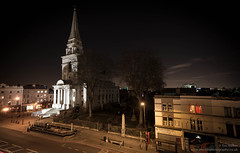 Spitalfields and the red curtains of a nearby flat (electricfoto) Tags: city england urban london nightscape unitedkingdom dusk carpark spitalfields cityoflondon
