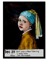 Girl with a Pearl Earring (raena's) Tags: ink watercolor vermeer pearlearring masterpaintings
