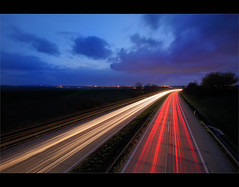 """highway to..."" (Karel Hrouzek P H O T O) Tags: world red skyline lights nikon czech live tripod sigma we the d300 lightstream mygearandme"