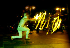Poi Fire Dancer, Light Trails (shaire productions) Tags: sf sanfrancisco longexposure people night fire person photography evening photo dance experimental pattern dancing picture experiment dancer flame photograph elements poi lighttrails imagery