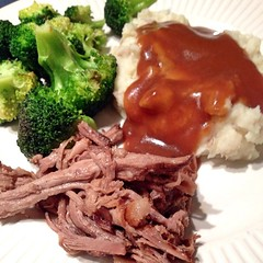 "This was just the kind of winter comfort we needed at our family dinner table this evening. Beer braised local pork shoulder with mashed potatoes, pan gravy, and sautéed broccoli really hit the spot.   What  for dinner at your house tonight?  #eatlocal #b • <a style=""font-size:0.8em;"" href=""https://www.flickr.com/photos/54958436@N05/16367978885/"" target=""_blank"">View on Flickr</a>"