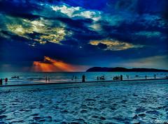 Rays of Hope (Adventurer_007) Tags: ocean blue sunset sea sun sunlight island landscapes sand seascapes bluewater bluesky malaysia langkawi phonecamera sunrays seabeach xiaomi mi3