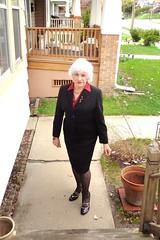Just The Girl Next Door (Laurette Victoria) Tags: woman silver suit sidewalk milwaukee laurette