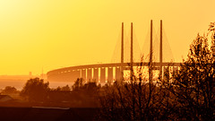 Sunset resundsbron (Hkan Dahlstrm) Tags: bridge sunset sky yellow architecture photography se skne sweden cropped malm resundsbron 2016 f67 skneln vster xe2 1800sek xc50230mmf4567ois 17208052016203822
