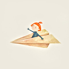 Paper Plane (The Lily X) Tags: illustration watercolor paperplane
